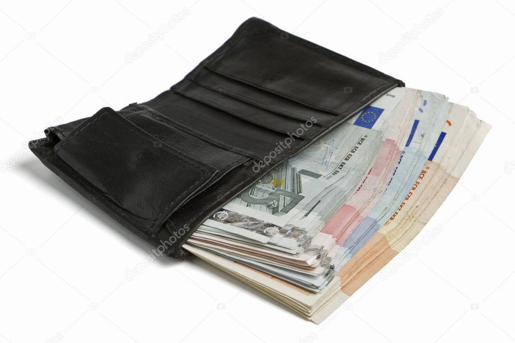 ae3c53c2f Muchos billetes en cartera negra sobre fondo claro — Foto de ...