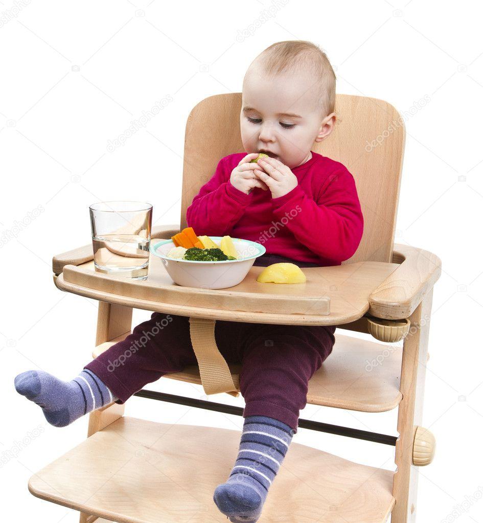 Hoge Stoel Voor Kind.Jong Kind Eten In Hoge Stoel Stockfoto C Gewoldi 9103564