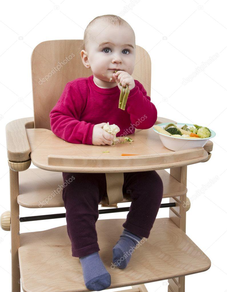Hoge Stoel Voor Kind.Jong Kind Eten In Hoge Stoel Stockfoto C Gewoldi 9359717