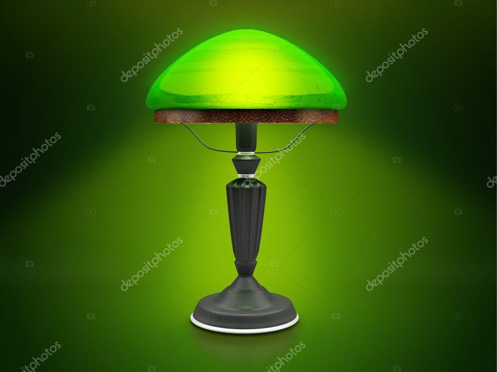 Vintage Lamp Green Desk Glow In The Dark Antique Photo By Ortodoxfoto
