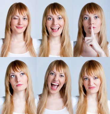 Young woman with multiple face expressions