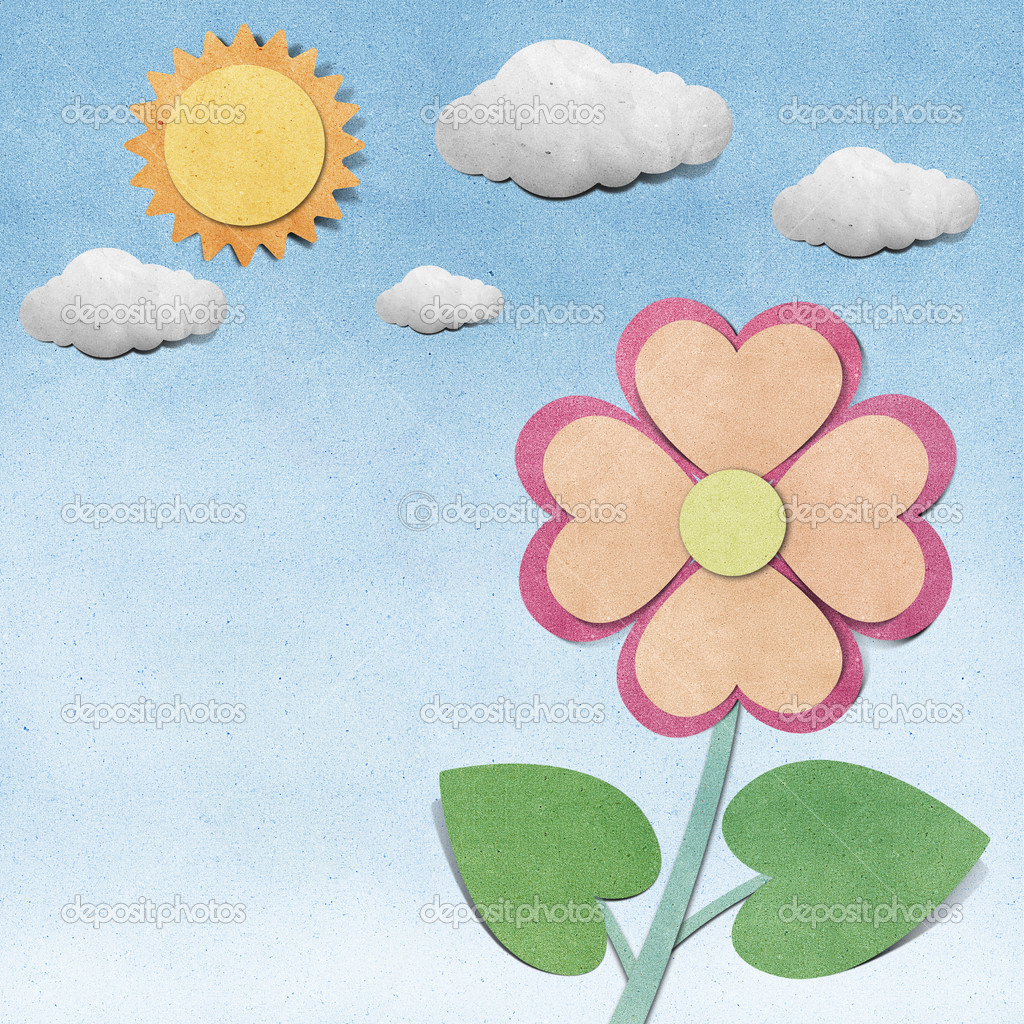 Flower and sky recycled papercraft background
