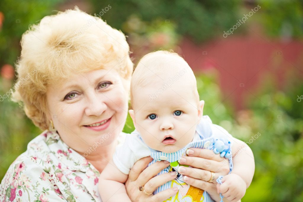 Happy grandmother and baby