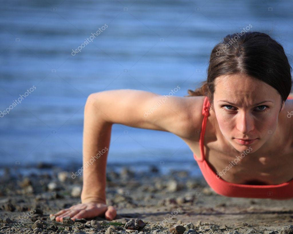 Push-ups on beach