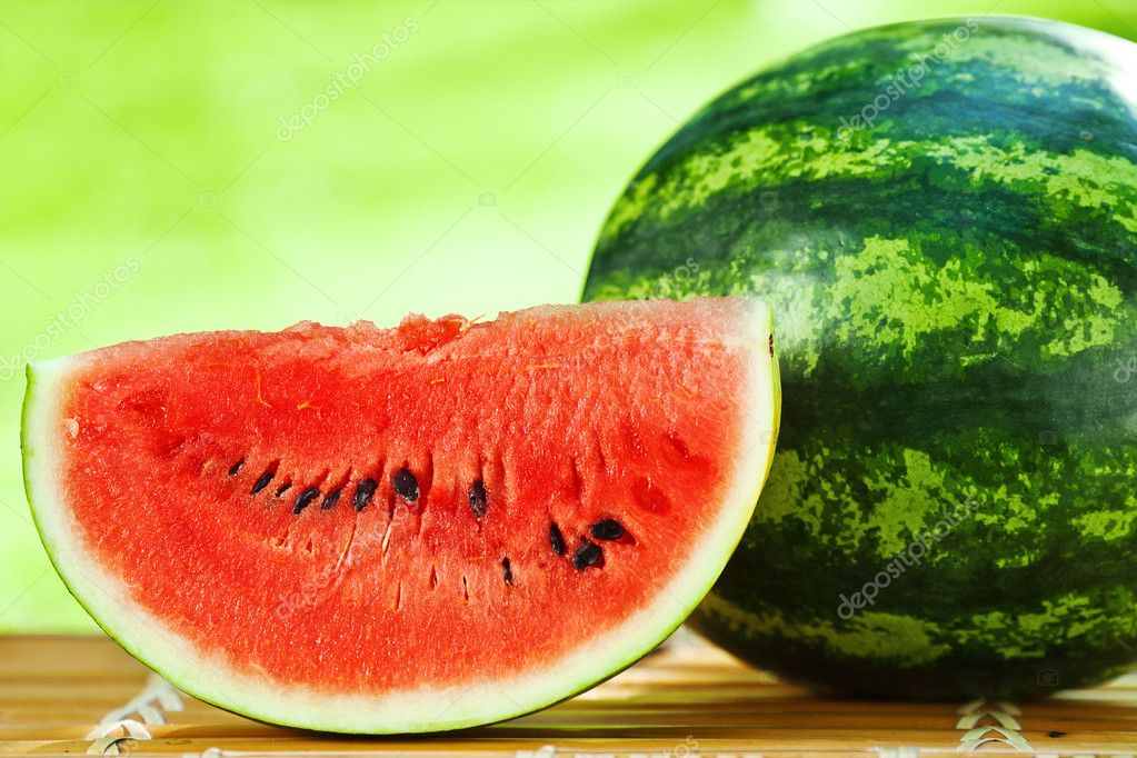 Watermelon against natural background closeup