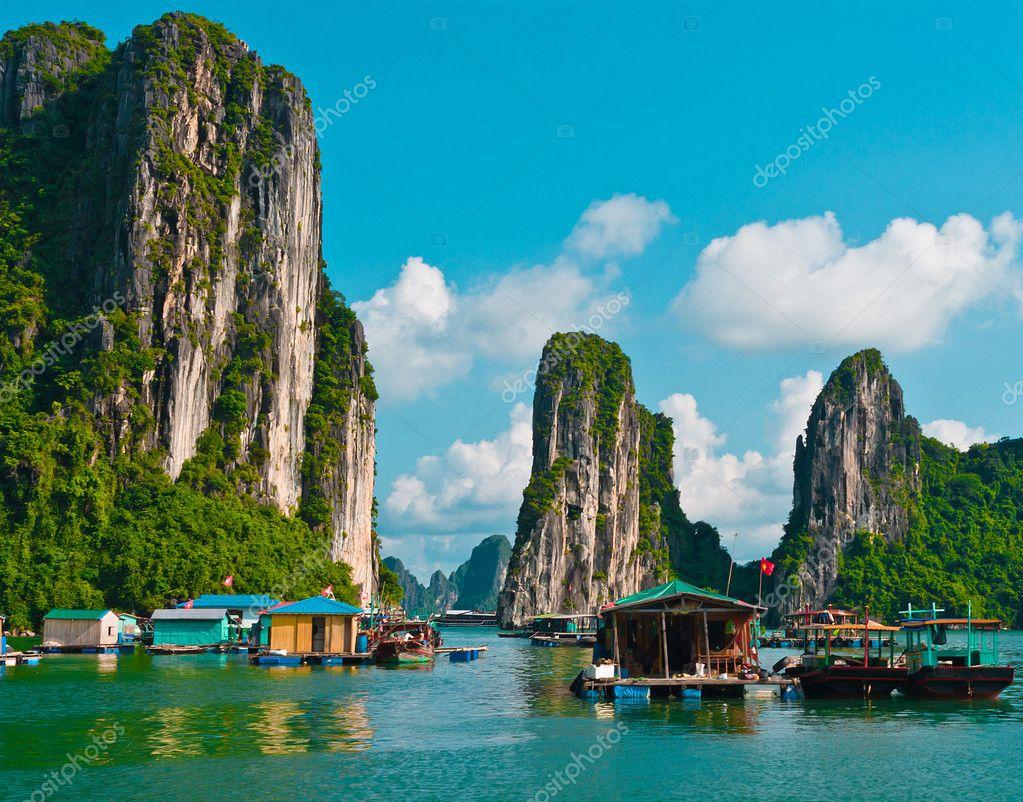 Floating fishing village in Halong Bay, Vietnam