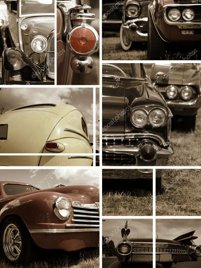Classic car collage