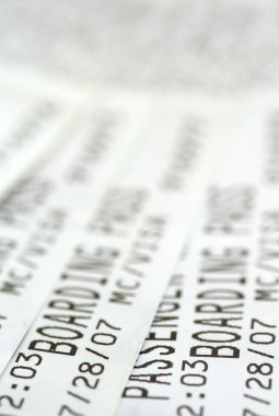 Close up shot of couple of boarding passes stock vector