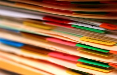 Medical records in a pile