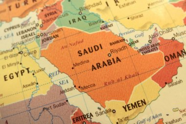 Saudi Arabia map on globe