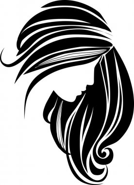 Beautiful young gitl with long hair clip art vector