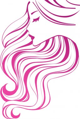 Beautiful girl with long hair clip art vector