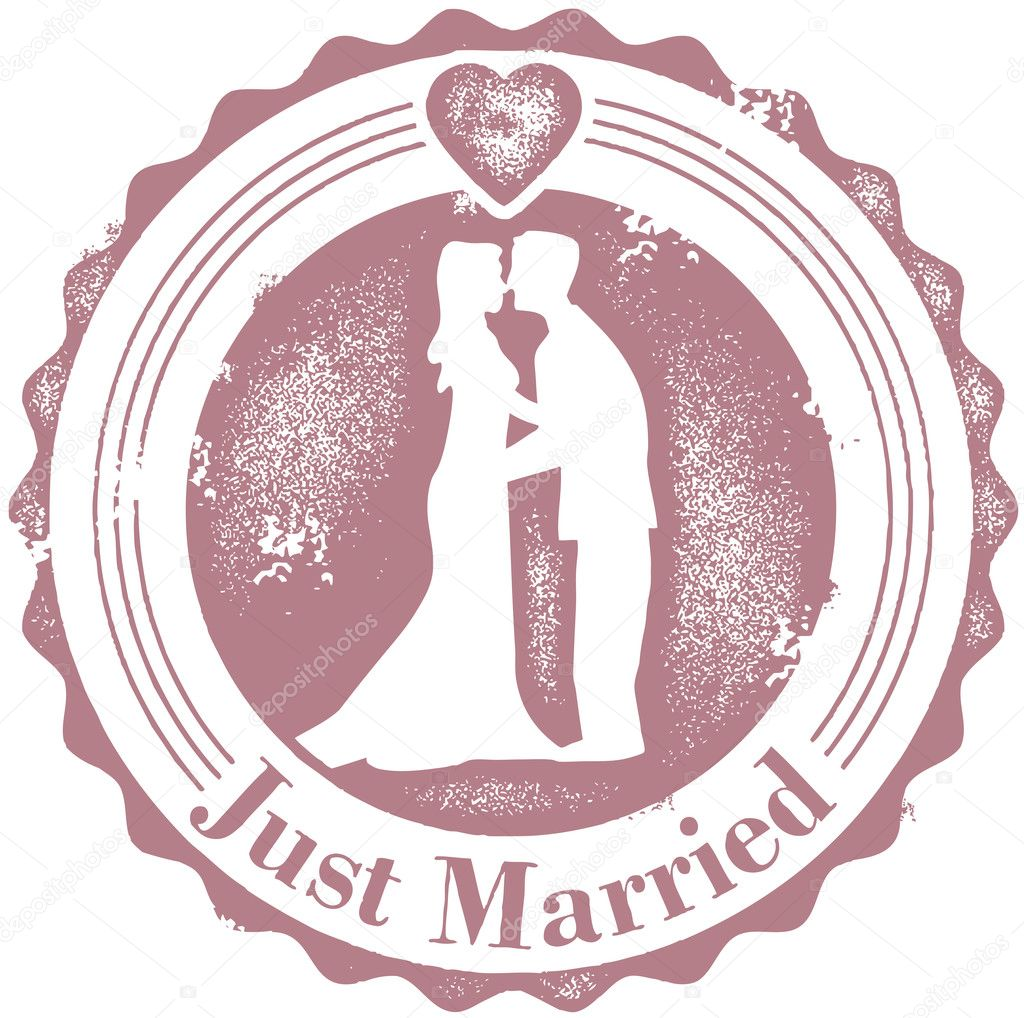 vintage just married wedding stamp stock vector. Black Bedroom Furniture Sets. Home Design Ideas