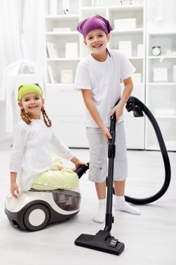 Tidy up day - children cleaning their room