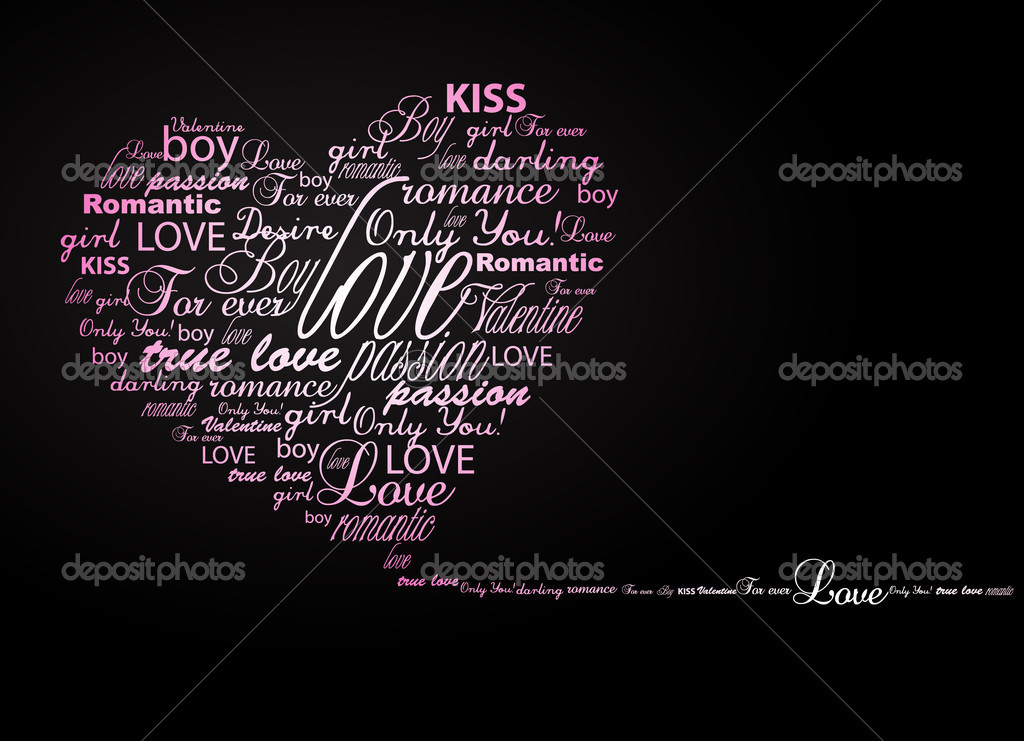 Valentine heart created from words.