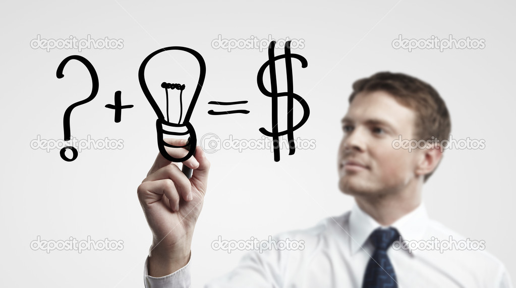 Young business man drawing a idea for making money