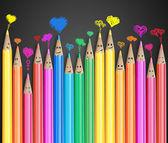 Skupina barevné tužky s láskou srdce bubliny úsměvem