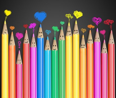 Group of coloured smiling pencils with love heart speech bubbles and social chat sign. Set of coloured pencils representing a social network stock vector