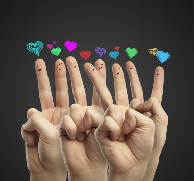 Group of happy finger smileys with love heart speech bubbles
