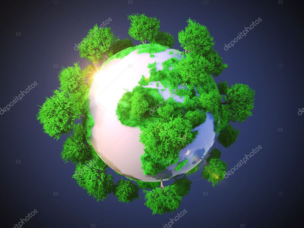 Model of Earth with oversized trees.