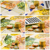 Euro coins and notes, set of economy