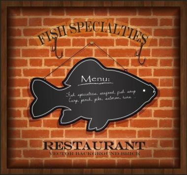 Vector blackboard fish menu brick wall