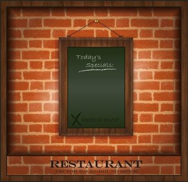 Vector blackboard frame wood menu brick wall green