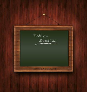 Blackboard wooden menu Todays special green