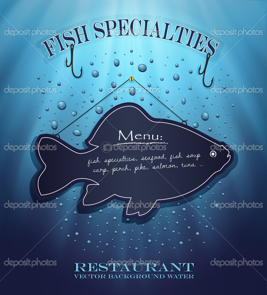 Vector blackboard fish water blue background drops