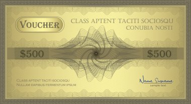 Vector Voucher Gold Guilloche certificate coupon