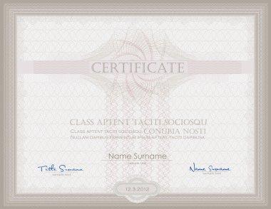 Vector Certificate Guilloche horizontal security