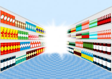 Supermarket shelves perspective with light at the end of corridor