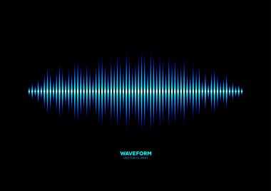 Shiny blue music waveform stock vector