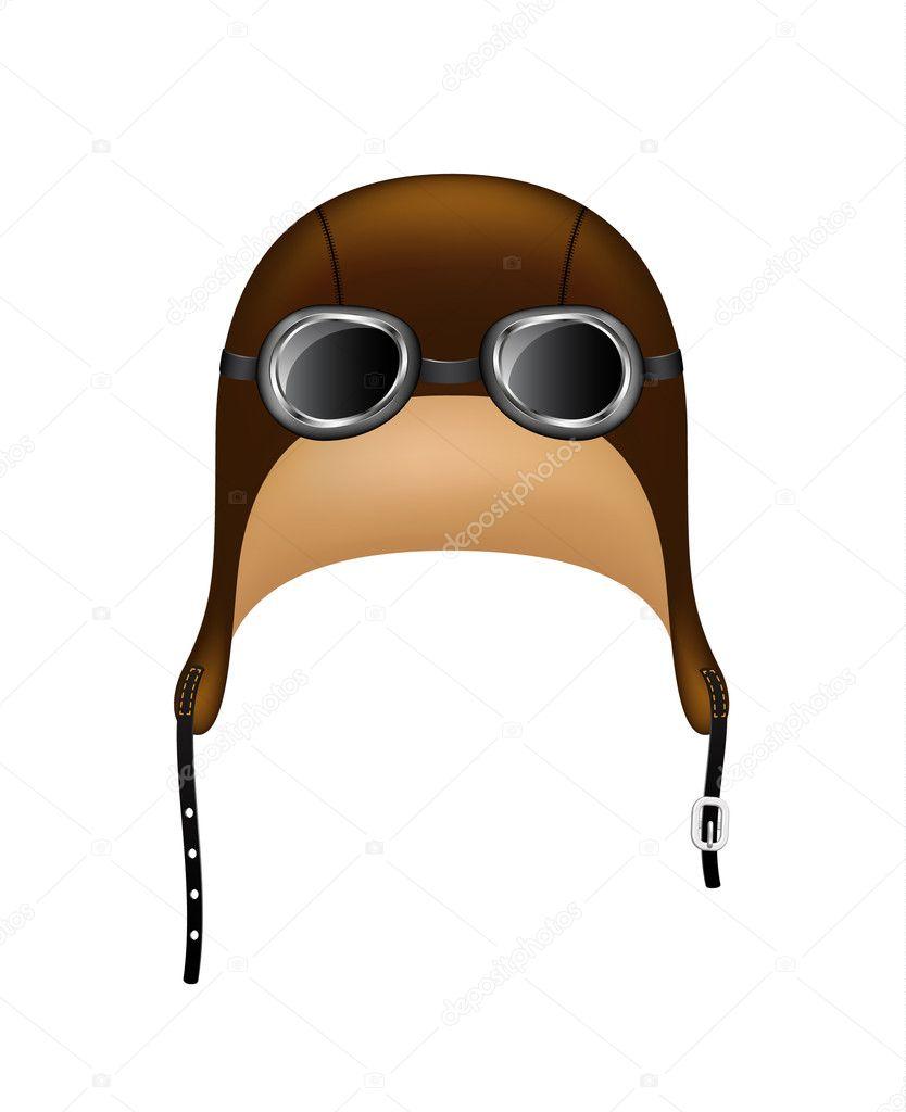 2fea6715aed7b Retro chapéu e óculos de proteção isolados no fundo branco — Vetor por  Jirkapravda