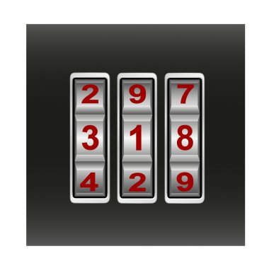 Combination lock with red numbers