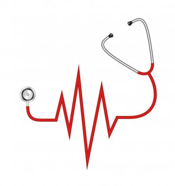 Stethoscope in shape of electrocardiogram line