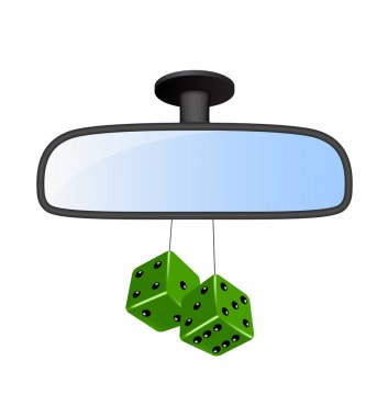 Car mirror with pair of green dices