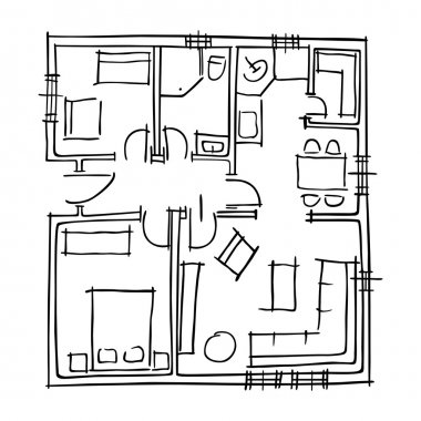 Ground floor blueprints sketch