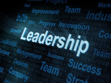 Pixeled word Leadership on digital screen