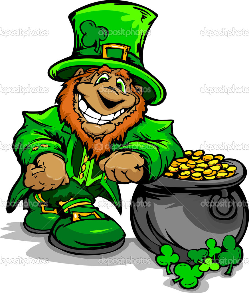 smiling st patricks day leprechaun with pot of gold u2014 stock