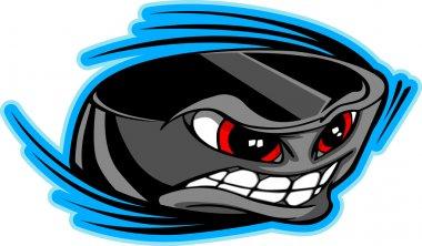 Ice Hockey Puck Face Cartoon Vector Image
