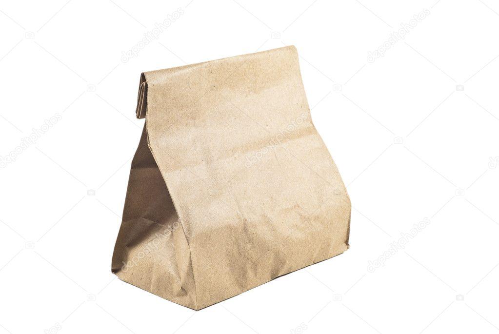 De Papieren Zak : Papieren zak op witte achtergrond geïsoleerd u stockfoto