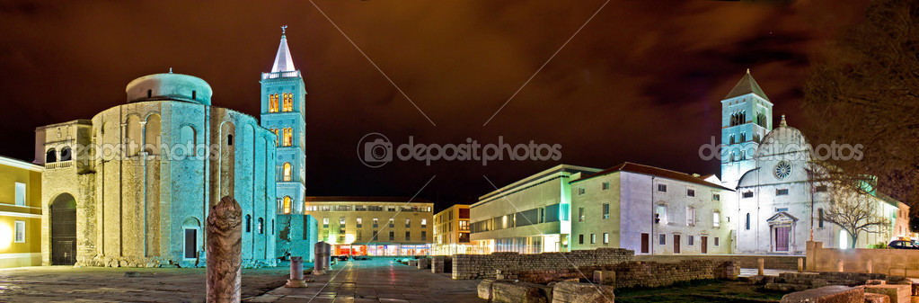 Old Zadar square panoramic night view