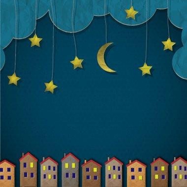 "Картина, постер, плакат, фотообои ""Бумага города ночью"", артикул 10336854"