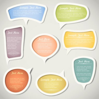 Speech bubbles with calligraphic elements.Vector set stock vector