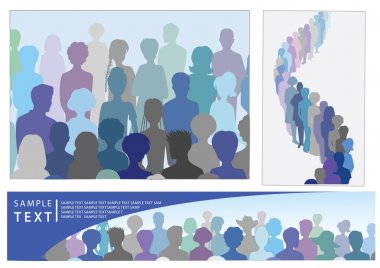 Set of illustrations with crowd