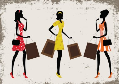 Silhouettes of a women shopping