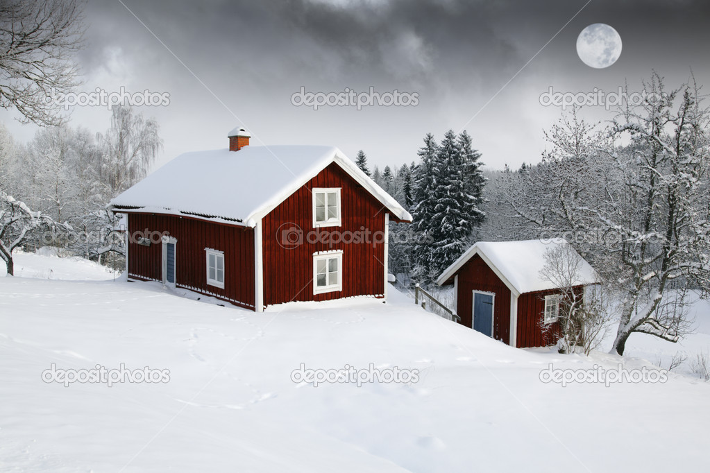 Red houses in snow forest under full moon