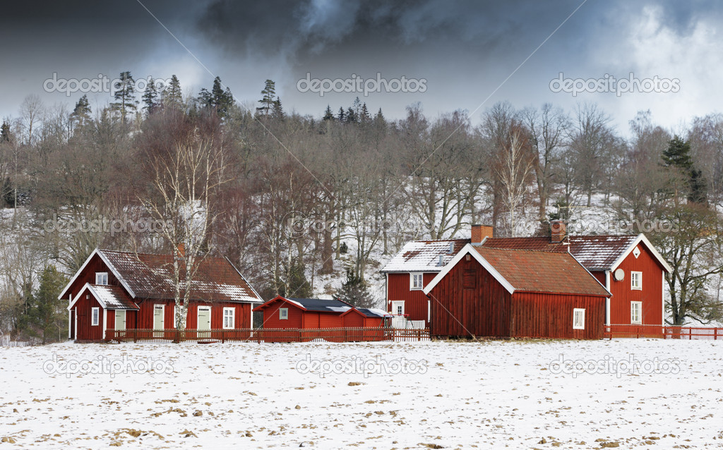 Red houses in snow village