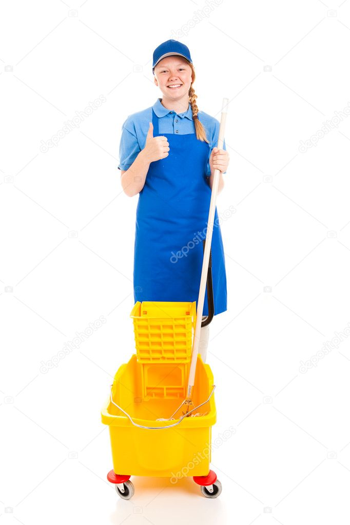 Stock Photo of Teen Worker with Positive Attitude